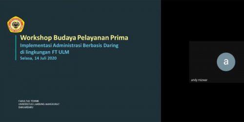Workshop Budaya Pelayanan Prima FT (Sesi 2-3), Banjarbaru 14 Juli 2020